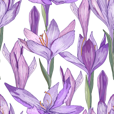 Seamless pattern with cute growing crocuses for your design, season advertisement, fabrics, posters