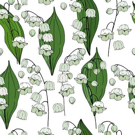 Seamless floral decorative pattern with lilies of the valley. Endless texture for your design, fabrics, decor. Ilustracja
