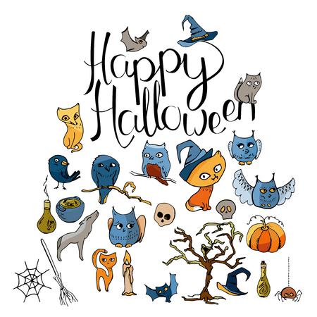 Doodle Halloween symbols and calligraphy phrase Happy Halloween