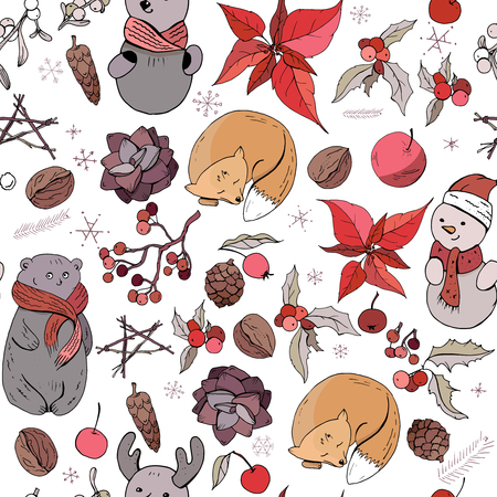 Seamless pattern with christmas vintage decoration and forest animals. New year retro symbols on white. Orange,brown and  red color, contour, hand drawn. Endless texture for festive season design.