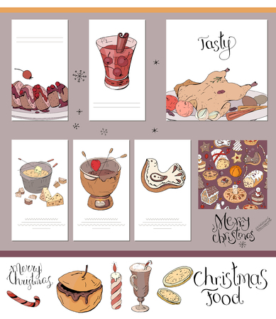Set of different cards with traditional winter food and drinks. Template for season and Christmas design, greeting cards,invitations and decoration.