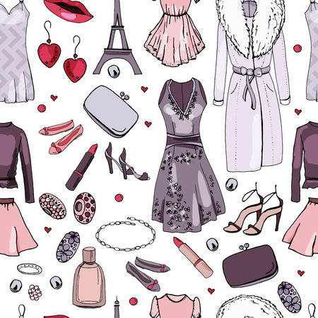 Seamless pattern with woman clothes. Endless texture with France fashion theme  イラスト・ベクター素材