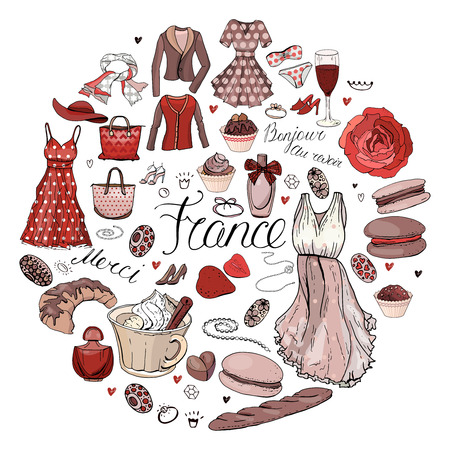 Circle made of different symbols related to France, travelling and Paris. Red and brown color. Round template for greeting cards isolated on white  イラスト・ベクター素材