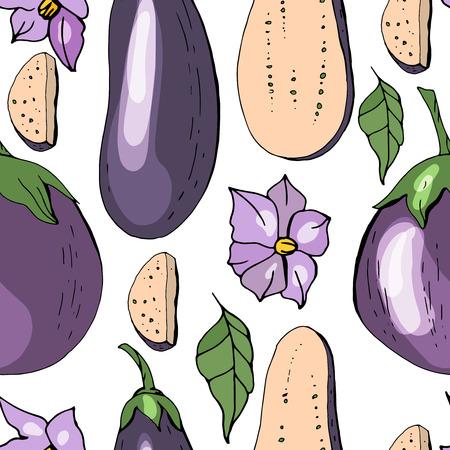 Seamless pattern with eggplant. Endless texture with vegetables and flowers Illusztráció