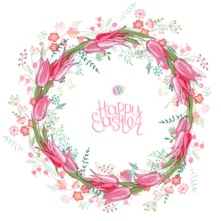 Round garland with spring flowers tulips and and small pink flowers. Decorative saeson floral frame for festive design Vectores