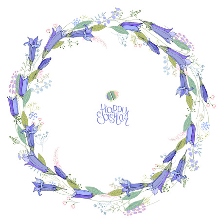 Round floral garland with bluebell flowers.