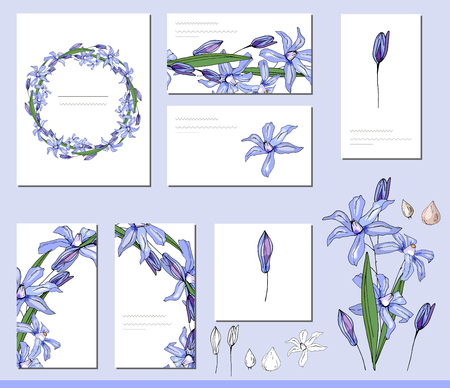 Scilla set with visitcards and greeting templates
