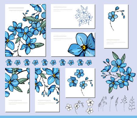 Forget me not set with visit cards and greeting templates.