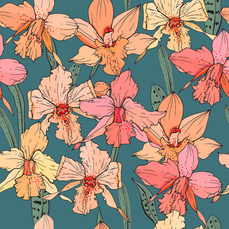Seamless pattern with orchid flowers. Endless texture for season design Ilustração
