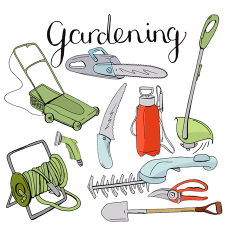 Colour set with different gardening tools.