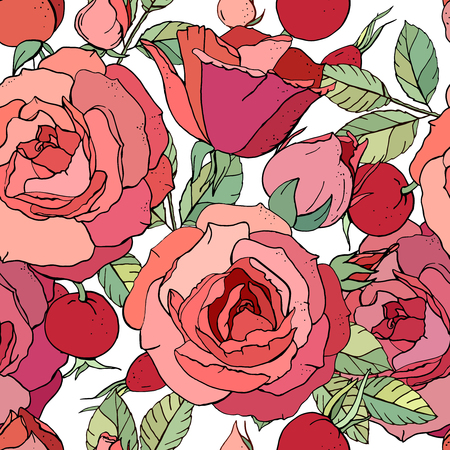 Seamless floral pattern with romantic rose flowers.