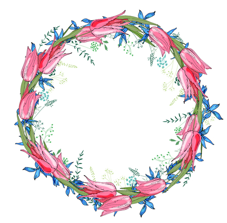 Round garland with spring flowers tulips and and small blue flowers.