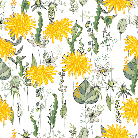 Seamless pattern with daffodils and herbs. Endless texture for your design Ilustracja