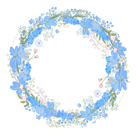 Round frame with pretty flowers muscari and text Happy Easter. Festive floral circle for your season design.