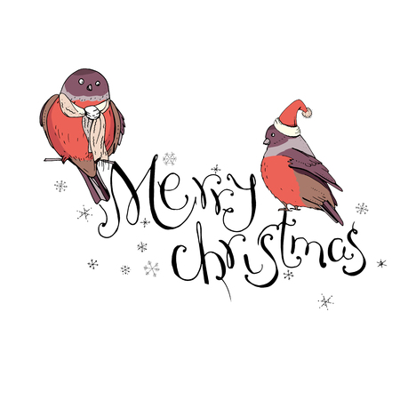 Winter birds sitting on phrase Merry Christmas. Vintage style.