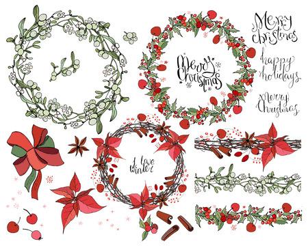Set con decorazioni natalizie. Ghirlanda rotonda decorata con elementi festivi di stagione. Per biglietti di auguri di stagione, poster, pubblicità. Stile vintage.
