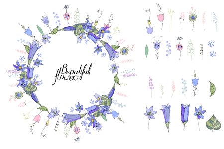 Round wreath made of blue bells. Template for spring and summer greeting cards Ilustração