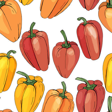 Seamless pattern with different vegetables on white. Paprika, different color