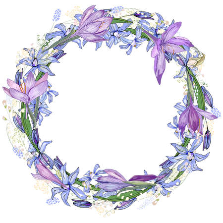 Round frame with pretty lilac crocuses. Festive floral circle for your season design. Ilustracja