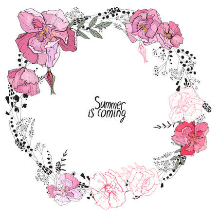 Round frame with pretty pink roses and modest wild herbs. Festive floral circle for your season design.