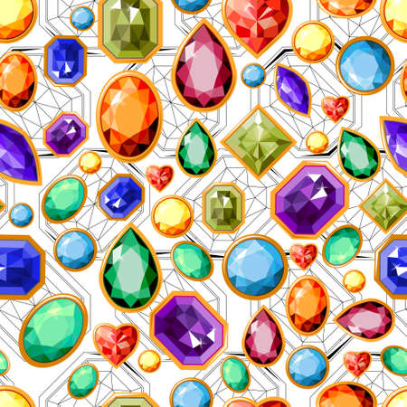 Seamless pattern with gems. Endless texture for fashion design