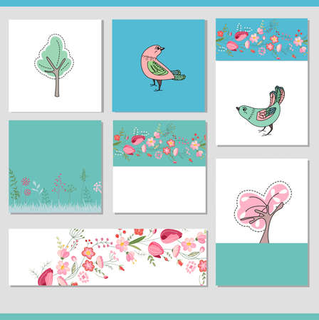 Set with different floral spring templates with birds. Cards for your design and advertisement Ilustração