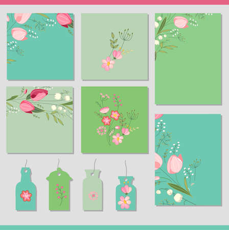 Set with different floral spring templates. Cards for your design and advertisement