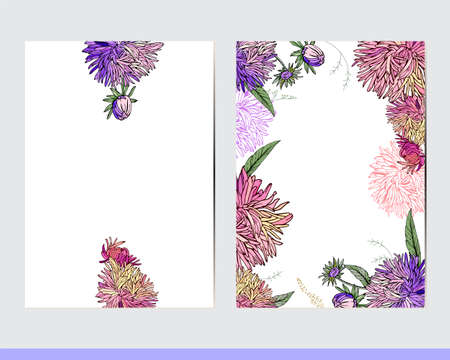 Greeting cards with floral elements. Decor with asters and herbs