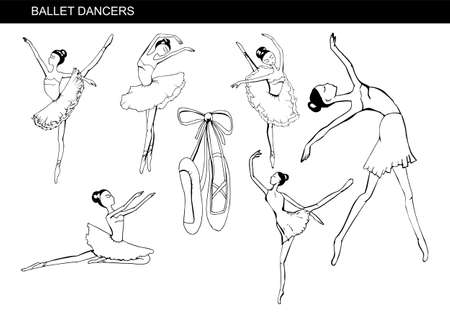 Set with pretty ballerinas, different poses.