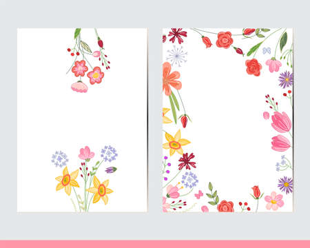 Greeting cards with floral elements. Decor with daffodils and tulips