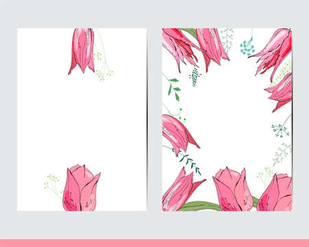 Greeting cards with floral elements and decoration. Decor with tulips