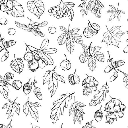 Seamless pattern with black and white autumn leaves. Endless texture for your design