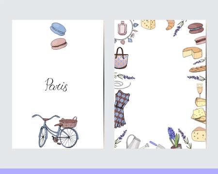 Decorative Paris elements on greeting cards.