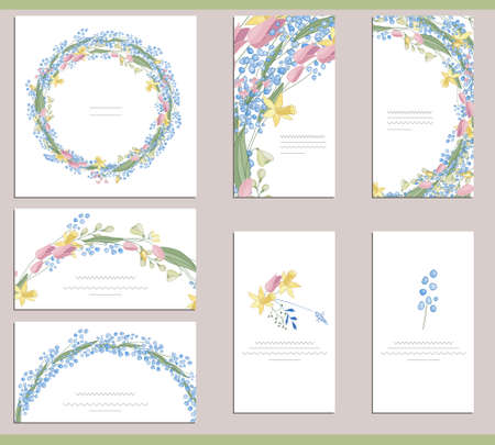 Greeting cards with different floral elements for season and festive design
