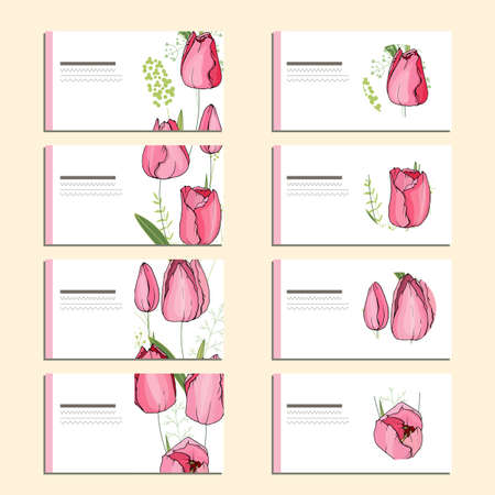 Set with visit cards for floral and season design