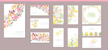 Floral spring templates with cute bunches of flowers. For romantic and easter design, announcements, greeting cards, posters, advertisement.