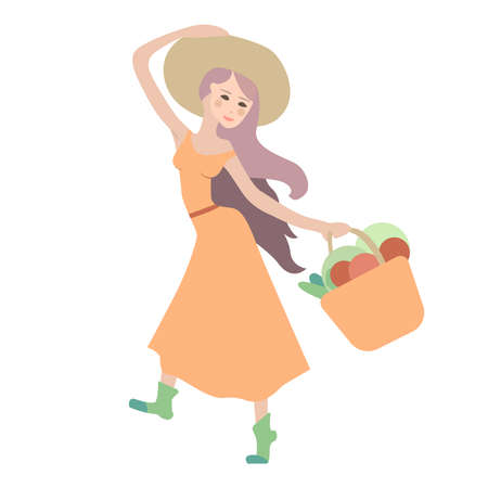 Young woman holding basket with fresh vegetables. Farmer isolated on white background. illustration can be used for vegetable picking,, farming