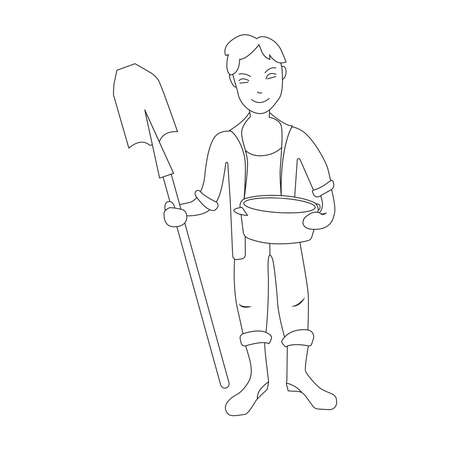 Young man standing with shovel. Black and white illustration. Coloring book.