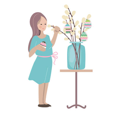 Young woman decorating pussy willow branches for Easter holiday. Illustration can be used for Easter and festive templates.