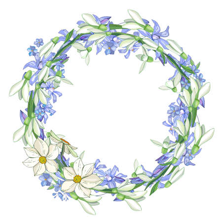 Floral wreath with romantic snowdrops and blue primroses. Illustration can be used for romantic and bridal templates.