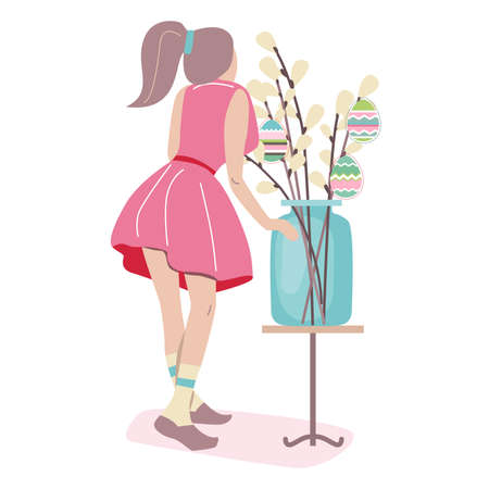 Young woman decorating pussy willow branches with painted eggs for Easter holiday. Illustration can be used for Easter and festive templates.