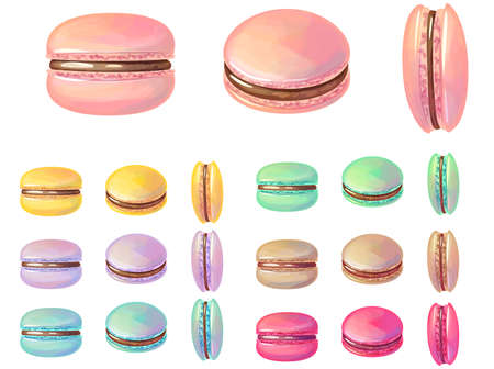 Set with different macaroons. Illustration for restaurant and cafe menu Vetores