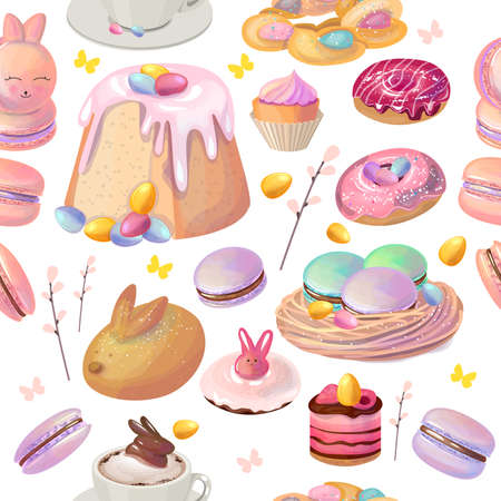 Seamless pattern with traditional easter sweet food. Festive elements in endless texture. Illustration can be used for restaurant and cafe menu and food design projects.