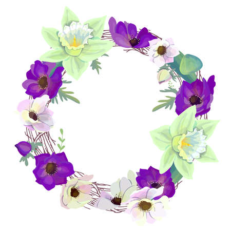 Round wreath with romantic violet and white flowers. Anemones and daffodils in circle. Illustration can be used as bridal and spring design template.