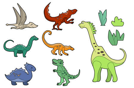 Set with funny cute dinos isolated on white background. Linear, contour, colored version of animals. Illustration can be used as pictures for children Vector Illustration