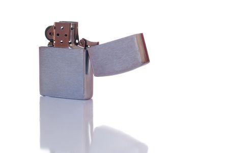 Steel cigarette lighter isolated on white background Stock Photo