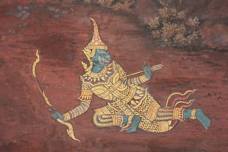 masterpiece: Masterpiece of traditional Thai style painting art on temple wall at Bangkok,Thailand