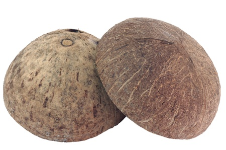 Coconut shell on white background photo