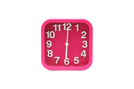reveille: Alarm clock pink colour on isolated white background