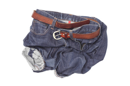 bluejeans: jeans a pile isolated on white background.